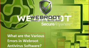 List of Various Errors in Webroot.com/safe Antivirus Software